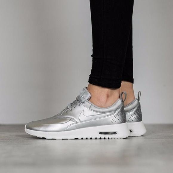 Nike Air Max Thea Silver Metallic Sneakers NWT